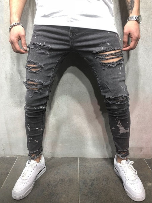Fashion Hole Stretchy Ripped Skinny Hop Hop Pants Clor Block Thin Pleated Casual Men's Jeans