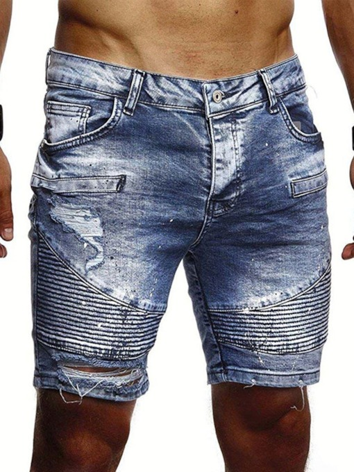 Men's Fashion Loose Zipper Hole Pocket Shorts Casual Denim Shorts