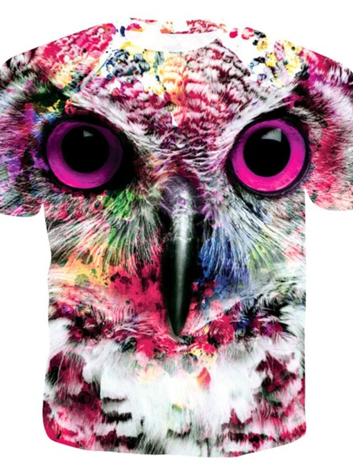 Creative Print Animal Owl 3d Tops Fashion Neutral Round Neck Color Block Short Sleeve Men's T-shirt