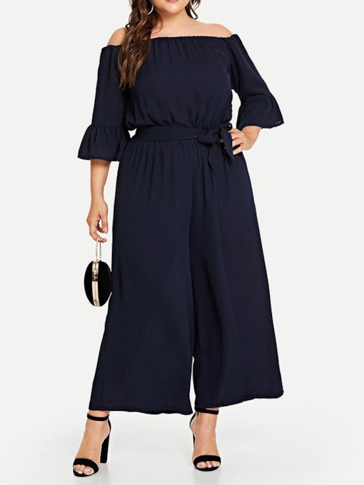 Plus Size Lace-Up Ankle Length Western Plain Loose Women's Jumpsuit
