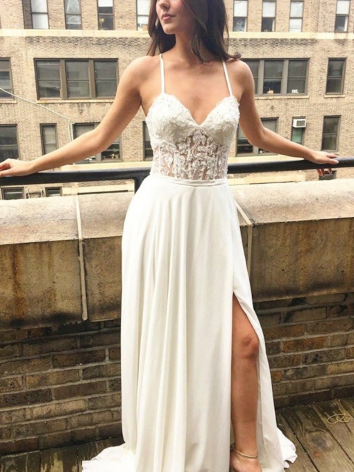 Split-Front Appliques Beach Wedding Dress 2019