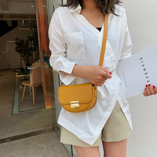 Thread Plain PU Saddle Crossbody Bags