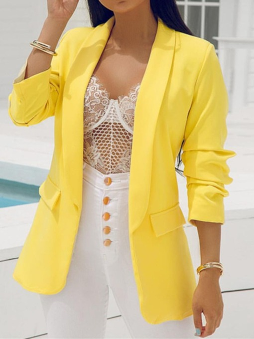 Notched Lapel Long Sleeve Plain Summer Women's Blazer