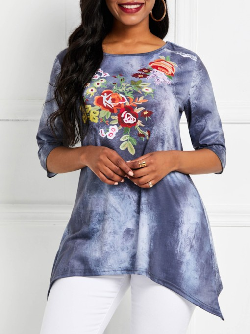 Half Sleeve Mid-Length Floral Round Neck Casual Women's T-Shirt