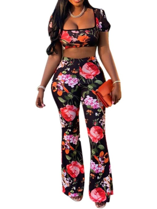 Western Print Pants Floral Pullover Women's Two Piece Sets