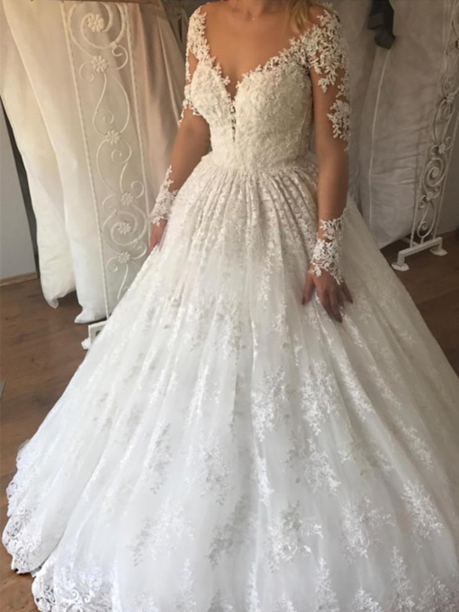 Ball Gown Lace Appliques Long Sleeves Wedding Dress 2019