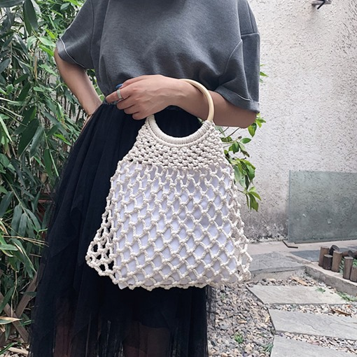 Knitted Plain Linen Barrel-Shaped Tote Bags