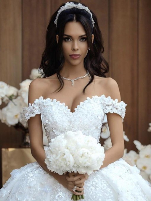Off the Shoulder Cathedral Train Flowers Wedding Dress 2019
