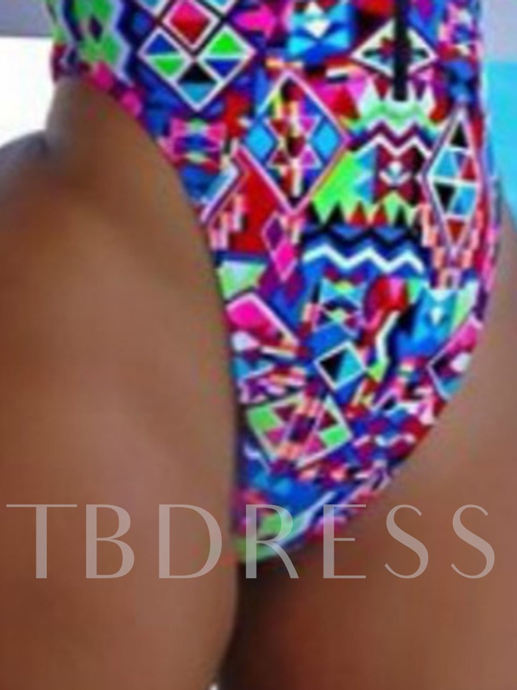 Western One Piece Print Color Block Women's Swimwear