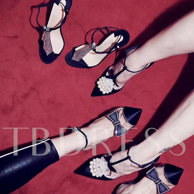 Beads Stiletto Heel Buckle Pointed Toe Decorated Pumps