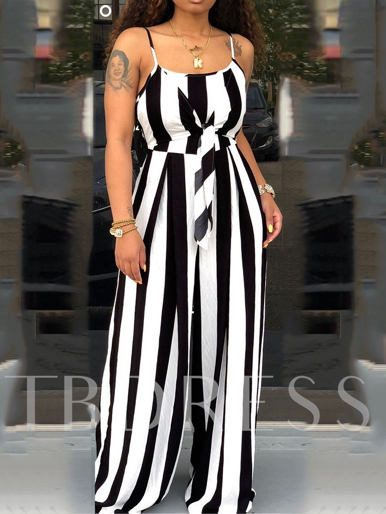 Full Length Office Lady Stripe Strap Wide Legs Women's Jumpsuit
