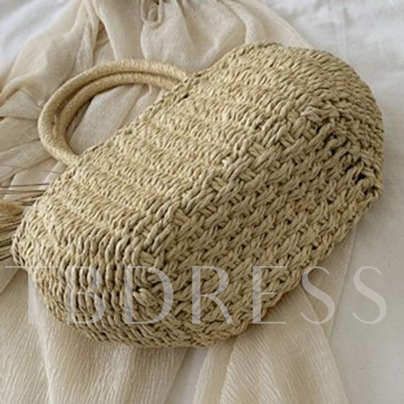 Knitted Grass Plain Tote Bags