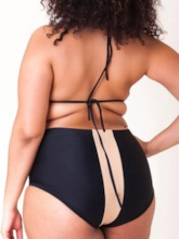 Plus Size Western Color Block Lace-Up Tankini Set Women's Swimwear