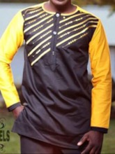Traditional African Fashion Ethnic Printed Color Block Round Neck Button Fit Men's Shirt
