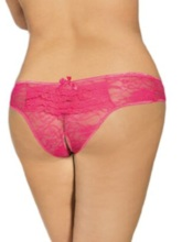 Sexy Mesh Lace Pleated Crotchless Panty