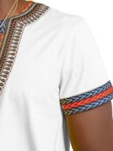 African Fashion Dashiki Loose Color Block Ethnic Printed Casual V-Neck Wrapped Men's T-shirt
