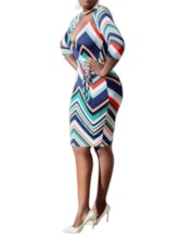 V-Neck Print Three-Quarter Sleeve Regular Women's Bodycon Dress