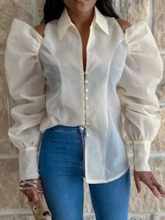 Lapel See-Through Plain Long Sleeve Women's Blouse