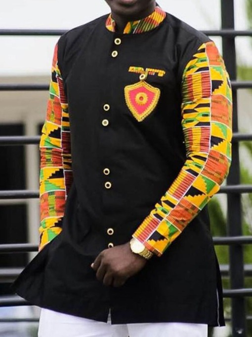 African Fashion Color Block Stand Collar Print Casual Slim Men's Shirt