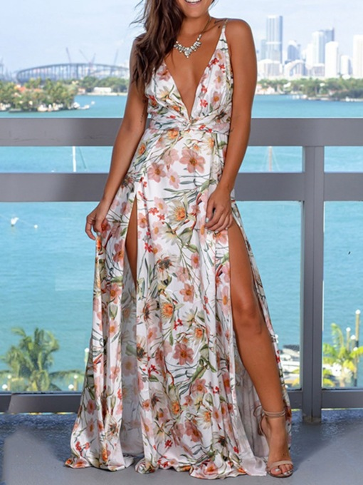 V-Neck Sleeveless Print Floral Pullover Women's Maxi Dress