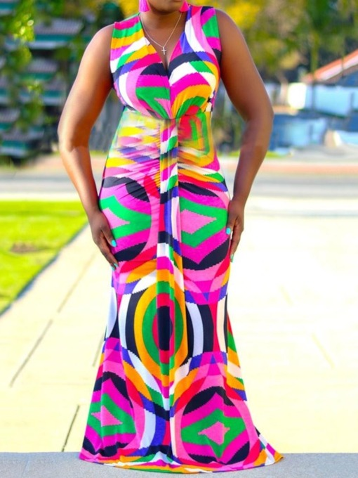 Sleeveless V-Neck Print Color Block Women's Maxi Dress