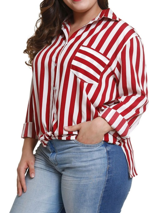Plus Size Regular Split Stripe Lapel Long Sleeve Women's Blouse