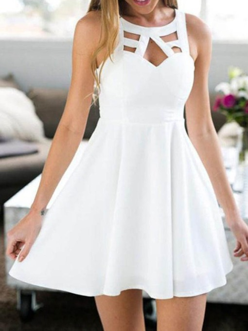 Hollow Sleeveless Lace Summer Women's Day Dress