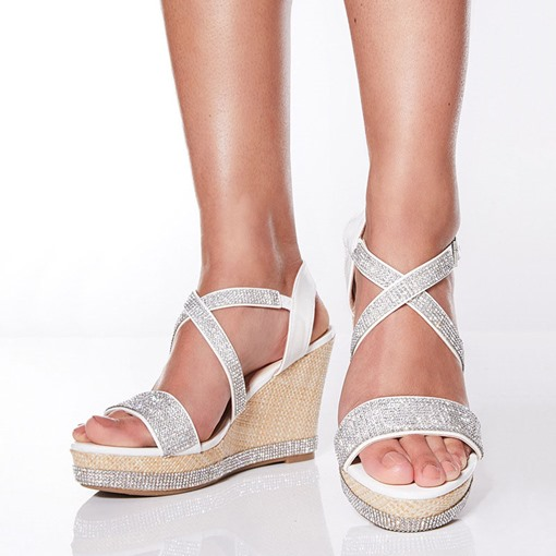 Buckle Wedge Heel Open Toe Cross Strap Rhinestone Sandals
