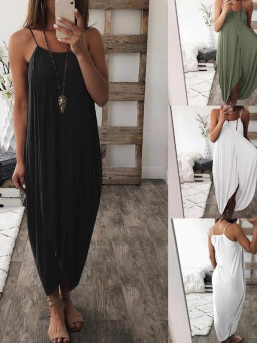 Sleeveless Asymmetrical Split Women's Maxi Dress