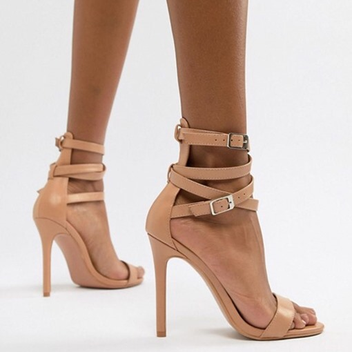 Heel Covering Buckle Stiletto Heel Open Toe Women's Sandals