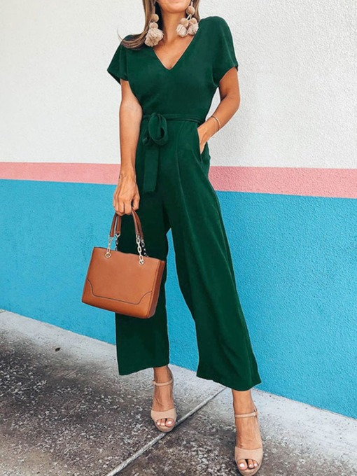 Belt Plain Ankle Length Western Straight Women's Jumpsuit