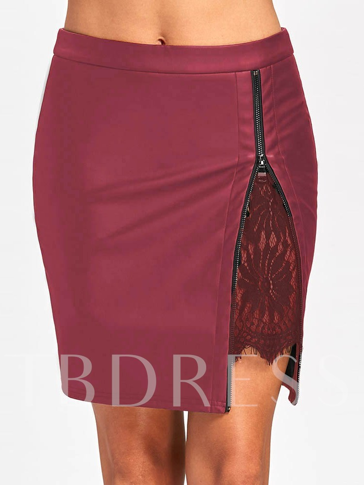 Mini Skirt Bodycon Color Block Lace Mid-Waist Women's Skirt