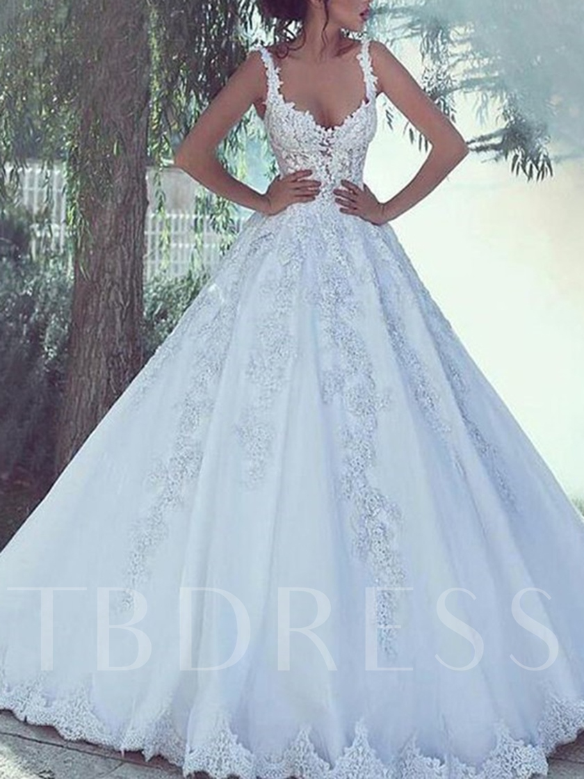 Spaghetti Straps Ball Gown Appliques Wedding Dress 2019