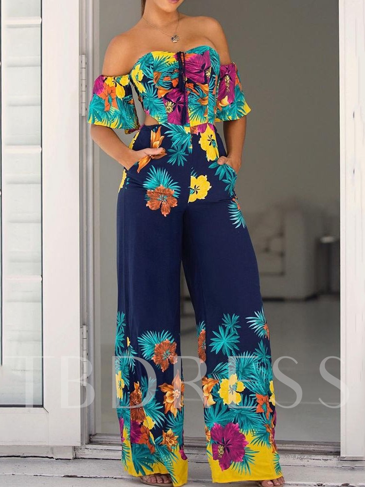 Western Floral Lace-Up Full Length Wide Legs Women's Jumpsuit
