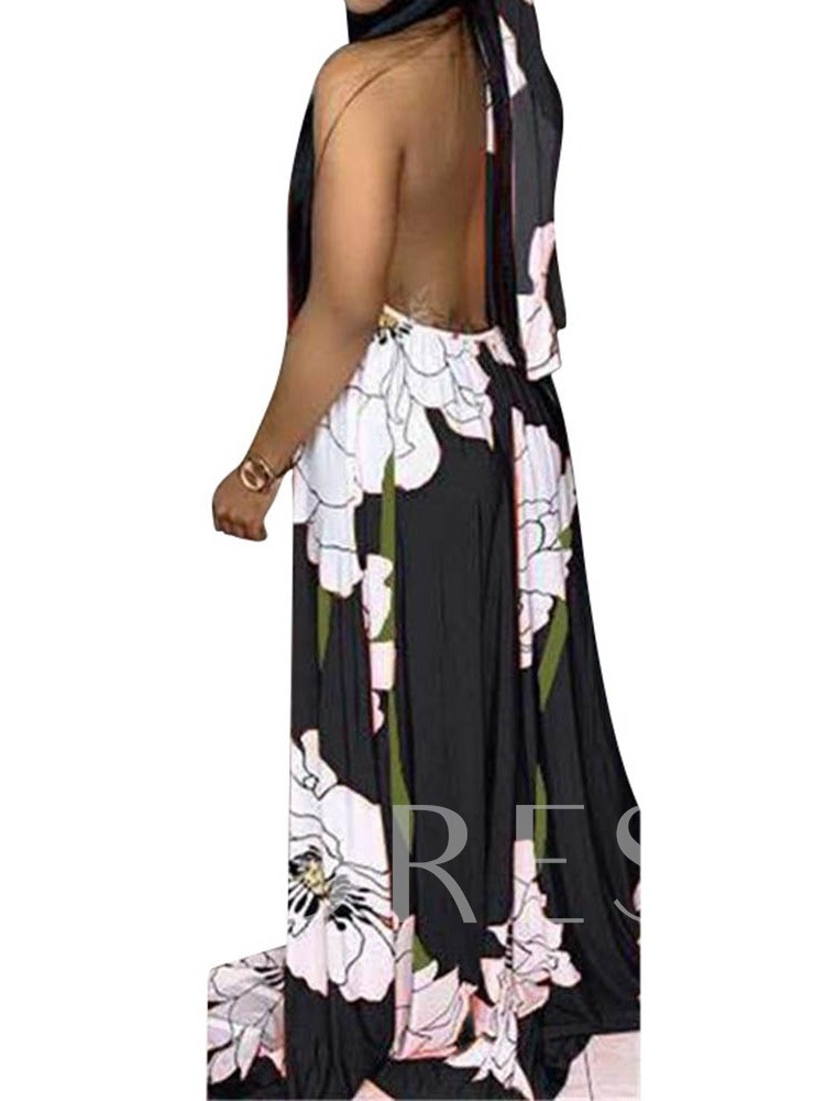Sleeveless Backless Lace-Up Pullover Women's Maxi Dress
