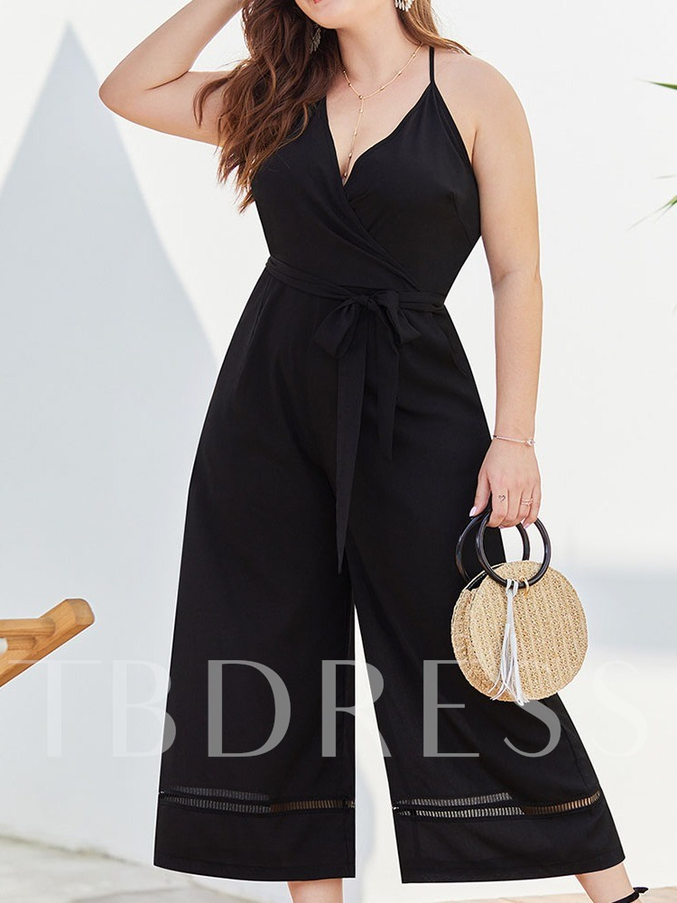Plus Size Western Bowknot Plain Ankle Length Wide Legs Women's Jumpsuit