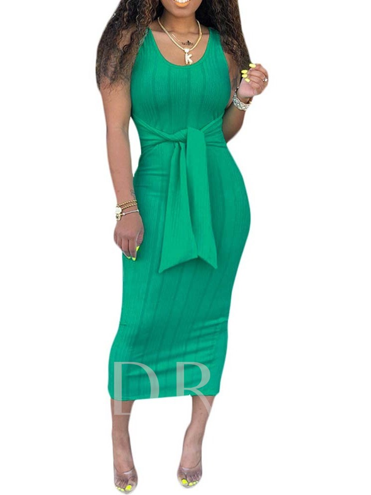 Sleeveless Lace-Up Mid-Calf Mid Waist Women's Maxi Dress