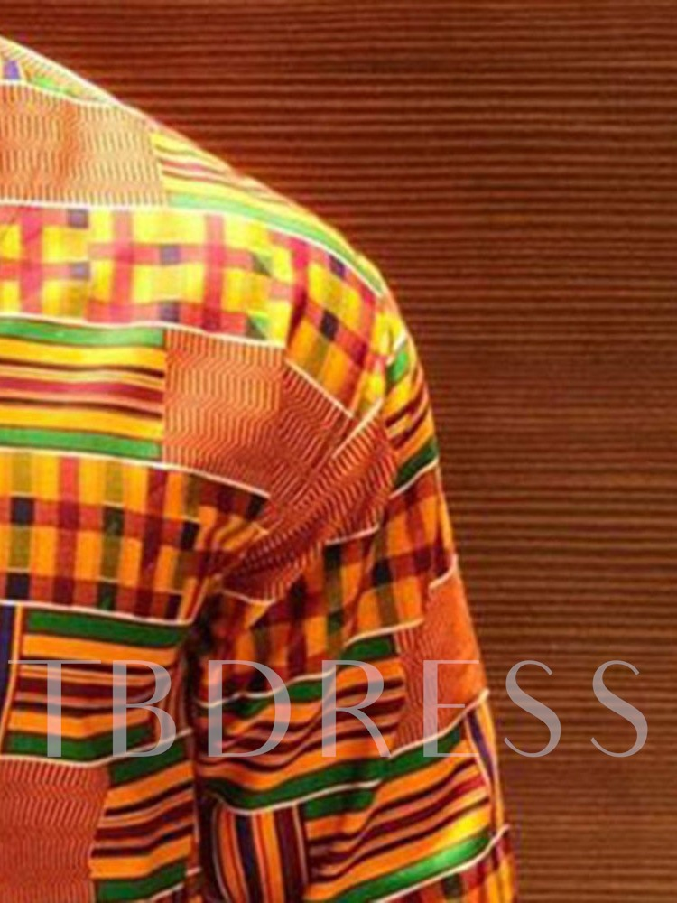 African Fashion Traditional Print V-Neck Color Block Dashiki Men's Shirt