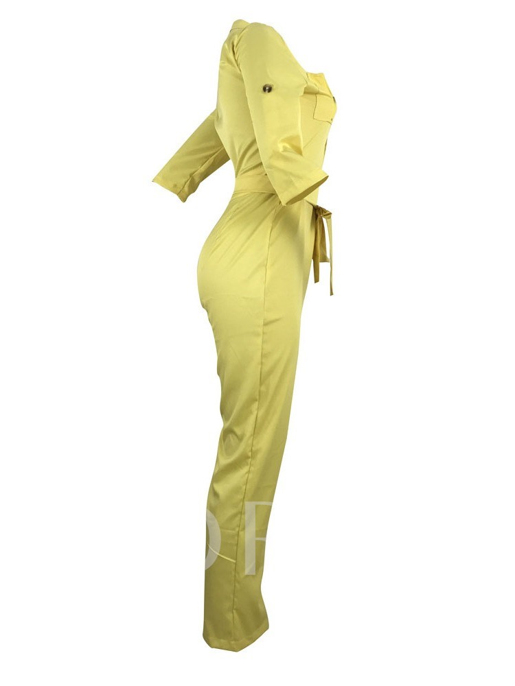 Belt Western Full Length Plain Slim Women's Jumpsuit