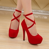 Female Ultra-High Heel Stiletto Heel Round Toe Hollow Wedding Shoes