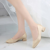 Female Thin Shoes Chunky Heel Cloth Pointed Toe Wedding Shoes