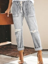 Plain Straight Pocket Slim Women's Jeans