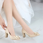 Female Cloth Chunky Heel Rhinestone Thin Shoes Wedding Shoes