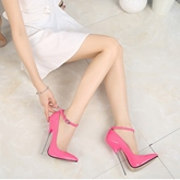 Female Buckle Pointed Toe Thin Shoes Ultra-High Heel Wedding Shoes