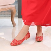 Female Thin Shoes Cloth Low Heel Embroidery Wedding Shoes