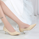 Female Cloth Mid-Heel Pointed Toe Stiletto Heel Wedding Shoes