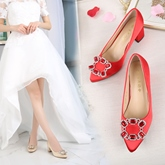 Female Sequin Chunky Heel High Heel Cloth Bridal Shoes