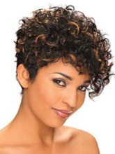 Mixed Color Short Length Curly Synthetic Hair Lace Front Cap Wigs 12inch