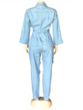 Office Lady Ankle Length Button Plain Slim Women's Jumpsuit