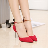 Female Pointed Toe Ultra-High Heel PU Stiletto Heel Wedding Shoes